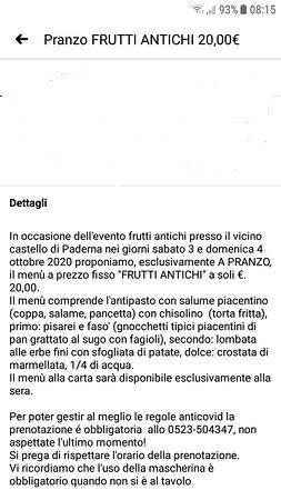 3 e 4 ottobre a pranzo solo menu fisso 20,00 Frutti antichi. La sera del 3 solo menu alla carta