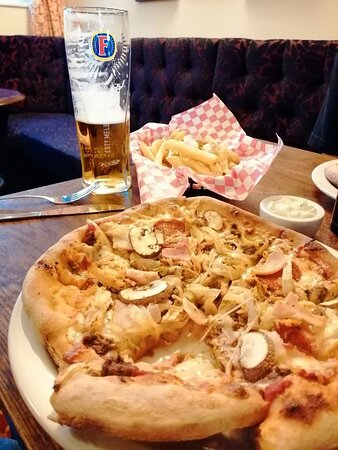 Pizza and a pint.