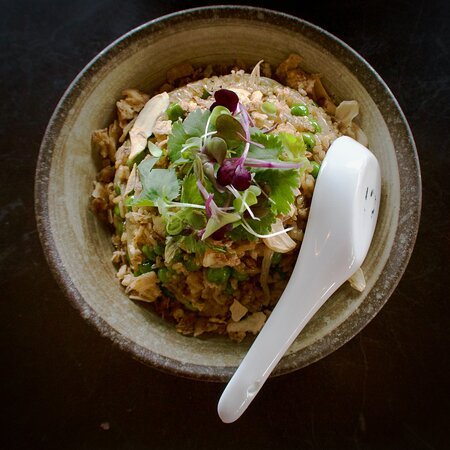 Wok Fried Rice, with Kecap Manis, Peas, crispy shallots and scallions.  GENEROUS portion!