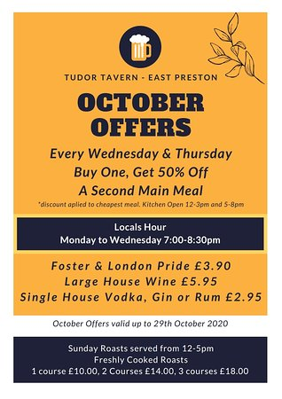 Fantastic Offers this October Buy One, Get 50% Off a second meal every Wednesday & Thursday this October.