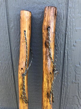 hand-carved hiking sticks in stock now.  Each one is unique.