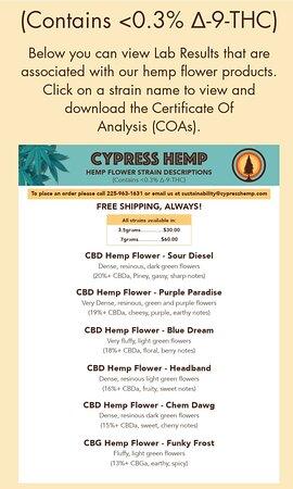 Moss Bluff, LA: Cypress Hemp menu