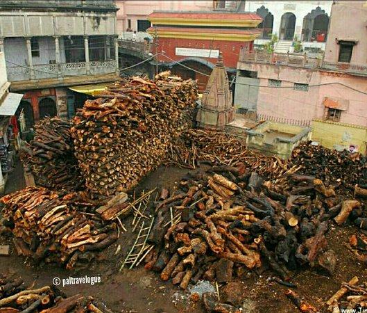Wood blocks stored for fire at Manikarnika Ghat.