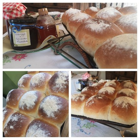 Fresh baked bread with Orange and Coriander Marmalade.. Homemade and tasty