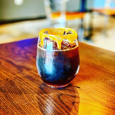 Cold-brew with caramel syrup and a caramel/brown sugar rim