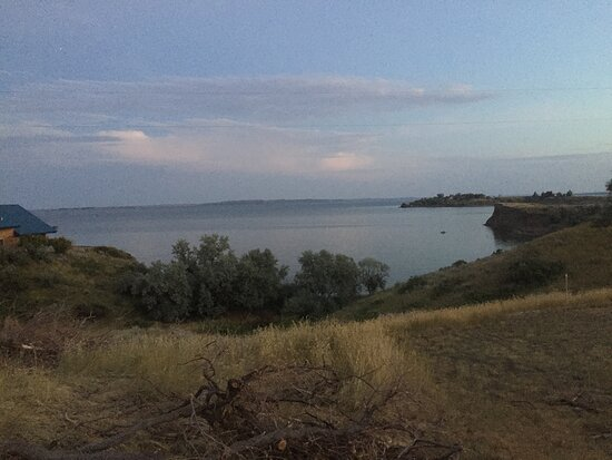 Looking down towards the Missouri River on Fort Peck Lake Montana