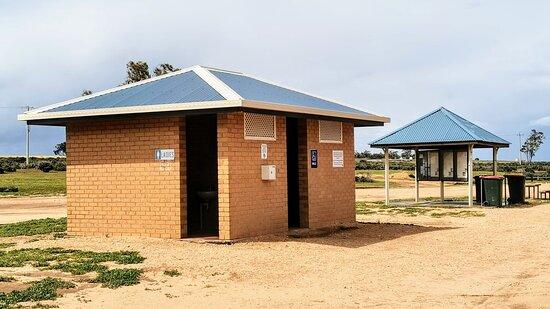 Toilet block and information boards at Lake Benanee