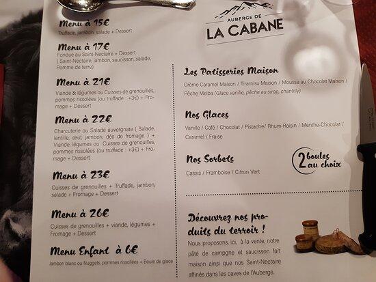 Saint-Alyre-es-Montagne, Pháp: carte - nous aviosn pris le menu  a 22