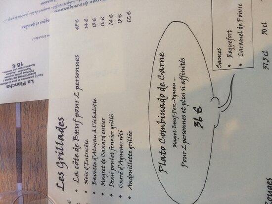 Saint-Jean-le-Comtal, Francia: The menu