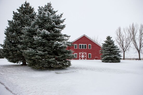 Clearmont, WY: Ucross Foundation's iconic Big Red Barn, home to the art gallery, is one of the oldest structures still standing in Sheridan County.