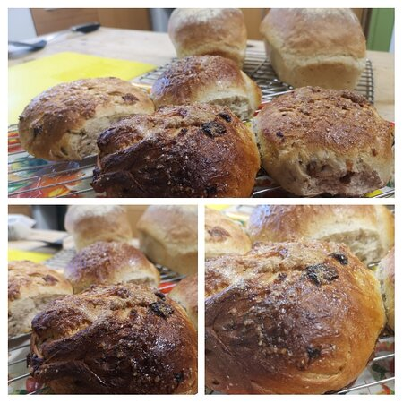 Freshly baked loaves and fruited buns on the breakfast table!
