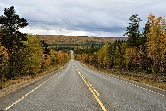 Strada che da Karigasniemi conduce a Nourgam. A destra colline, a sinistra il fiume Teno, confine con la Norvegia - Lapponia - Finlandia.  Cliccare sulla foto per vederla come scattata.