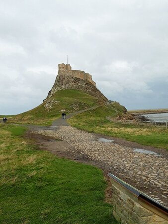 Lindisfarne castle on Holy Island, which can only be reached during low tide.