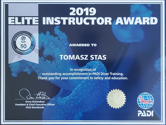 PADI Elite Instructor award for 2019