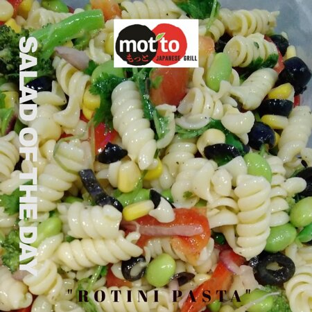"""""""Rotini Pasta Salad"""": Roniti pasta packed with black olives, edmame, corn, red onions and bell peppers tossed with our signature red vinaigrette dressing."""