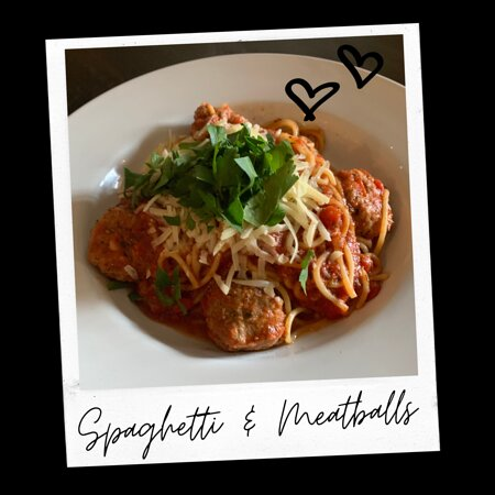 Elk Horn, IA: Spaghetti & Meatballs (house-made marinara, house-made meatballs, served over spaghetti, finished with aged parmesan and italian parsley)