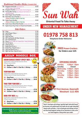 Gwersyllt, UK: takeaway menu