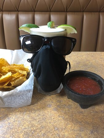 Dunlap, TN: Even the beers wear masks at El Metate' Of course with the tasty chips and salsa - mix in a little hot sauce to the salsa for a nice kick!