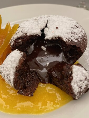 Chocolate Fondant cake with Orange Sauce