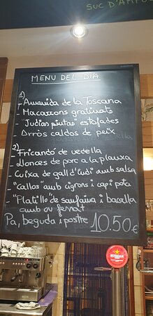 Cabra del Camp, España: Carta bar de Cabra