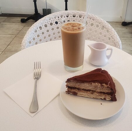 Tiramisu Mille Crepes Cake and A Iced Coffee