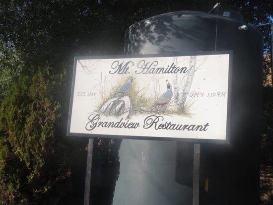 Mount Hamilton, CA: Mount Hsmilton Grand View Restaurant