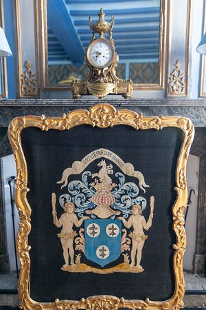Conflans-sur-Anille, Francia: chimney screen with Vanssay coat of arms in our prestigeous Chambre Marin 55sqm room