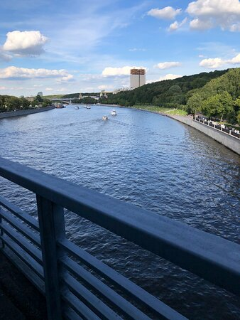 Luzhniki Bridge: вид с моста на Российскую академию наук