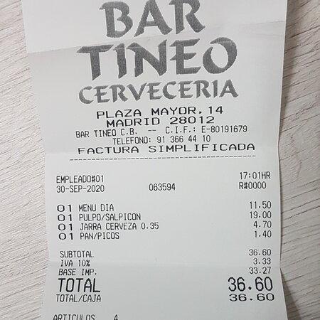Ticket de nuestra experiencia en el Bar Tineo de la Plaza Mayor de Madrid