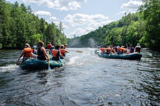 The Forks, ME : SPLASH FIGHT on a calm section of the Lower Kennebec River