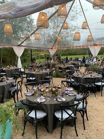 beautiful outdoor wedding venue with tent