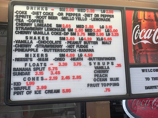 Oden, AR: Fountain drinks, shakes, floats, ice cream  *prices subject to change due to covid