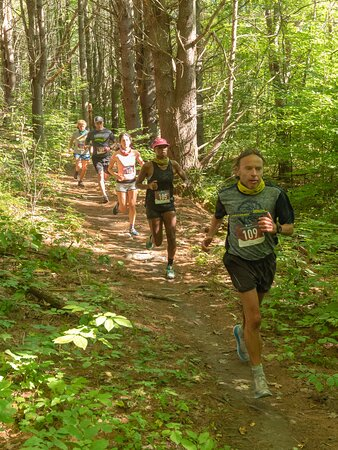 Trail runners enjoy the Slate Valley Scramble Trail Run Race course.