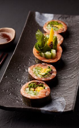 Garden Salmon Low-Calorie Roll of Salmon with Mixed Green, Mango, Cucumber & Asparagus with Sesame Dressing