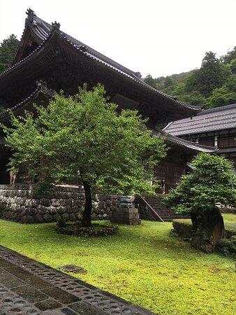 永平寺境内にて。雨の日ということもあり、なかなかお庭の風情がありました。