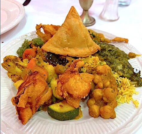 we offer veg, vegan & non-veg entrees; breads; tandoori specialties, biryanis, lunch special options