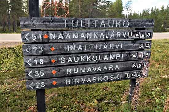 Indicazioni di trekking nel nord della Finlandia. Cliccare sulla foto per vederla come scattata.