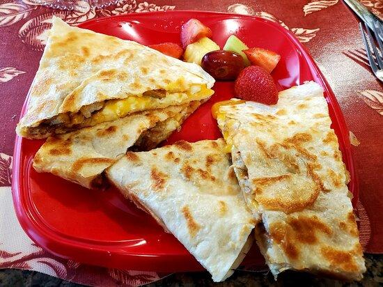 Kingston, NJ: Delicious Breakfast Quesadilla with Fresh Fruit