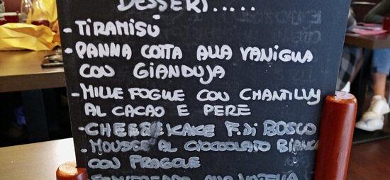 prima parte menu dessert