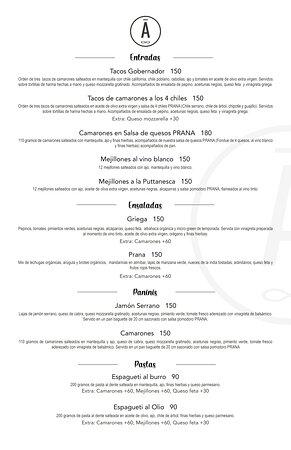 Tenemos un nuevo menú para ti!  Disfruta de lo nuevo de PRĀNA.  -Reserva con anticipación.- ☎ Ordena y recoge al teléfono: 128 9805 📍 Calle Madero #1125, e/Constitución y 5 de Mayo. 🕙 15:00 hrs. - 23:00 hrs. Lunes a Viernes. 🕛 13:00 hrs - 23:00 hrs. Sábado. 🕛 13:00 hrs - 21:00 hrs. Domingo - Descansamos los Martes -