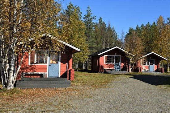 Edifici  isolati in mezzo a un bosco a nord di Rovaniemi  - Lapponia - Finlandia. Cliccare sulla foto per vederla come scattata.