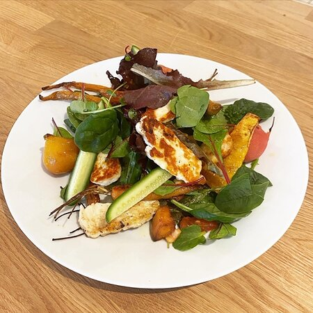 Seed & Grain warm winter salad of grilled halloumi with roasted parsnips, baby beets, squash and baby carrots.