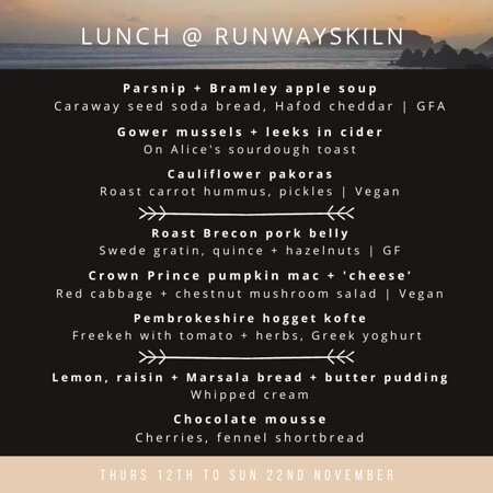 Menu 12.11 to 22.11.2020   £20 for 2 courses, £25 for 3 courses   Thurs + Fri + Sat + Sun   Booking essential