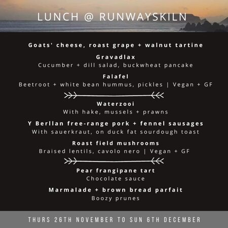 Menu 26.11 to 06.12.2020   £20 for 2 courses, £25 for 3 courses   Thurs + Fri + Sat + Sun   Booking essential