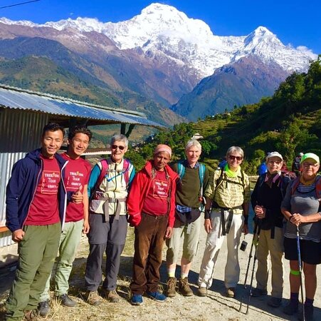 Trekkers with the view in annapurna base camp trek