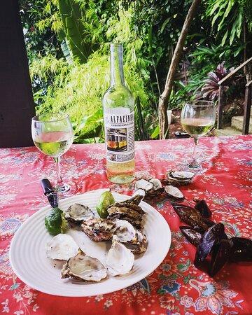 O vinho nós levamos de casa. As ostras, fresquinhas, eram da ilha, naturalmente.