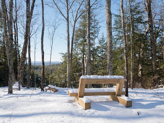 Winter hiking at Fairground trailhead. Many benches and scenic views throughout the trail network.