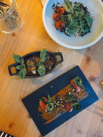 Aubergine cannelloni filled with vegan ricotta  Smoked salmon Romanesco risotto