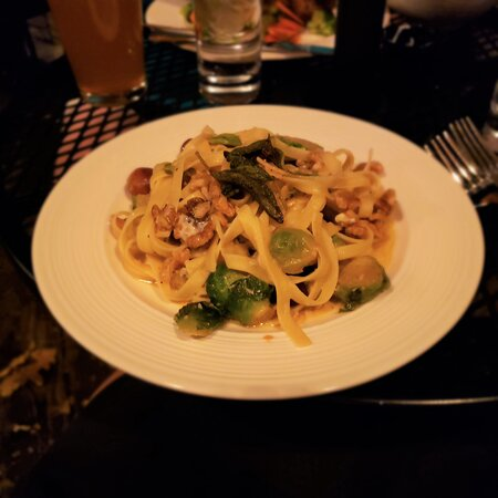Fettucine and Brussel sprouts - blue cheese, walnuts, hold the bacon