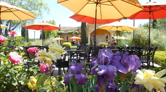 Plymouth, CA: Tuscan-style gardens provide the ideal setting to savor a glass of wine & share a meal.